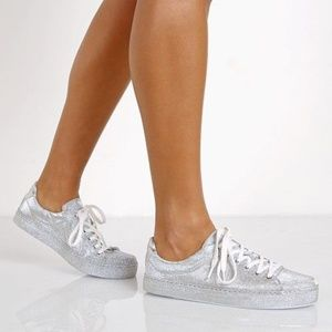 [Schutz] Silver Metallic Sparkle Low Top Sneakers